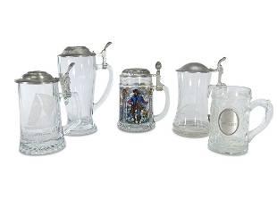 German set of 5 glass & pewter beer steins