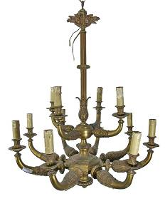 Antique French large bronze chandelier