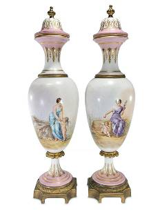Antique French Sevres pair of porcelain & bronze urns