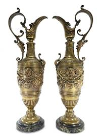 Antique French pair of bronze ewers with a marble base