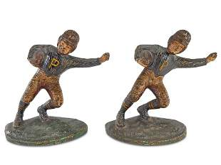 Vintage iron football players bookends