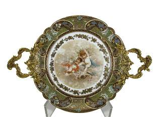Antique French Sevres bronze champleve & porcelain tray