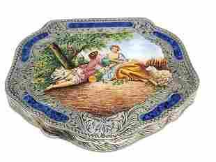 Vintage Italian 800 silver & enamel powder box