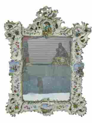 Antique European hand painted porcelain mirror