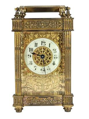 Antique French bronze & bevelled crystal travel clock