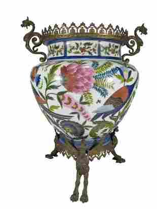 Antique Oriental bronze & opaline centerpiece