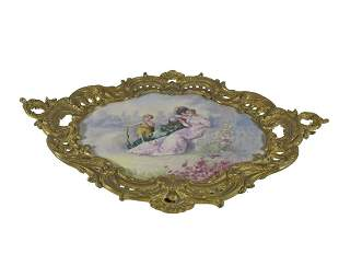 Antique French Sevres porcelain & bronze tray