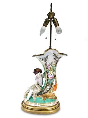Antique probably German porcelain lamp