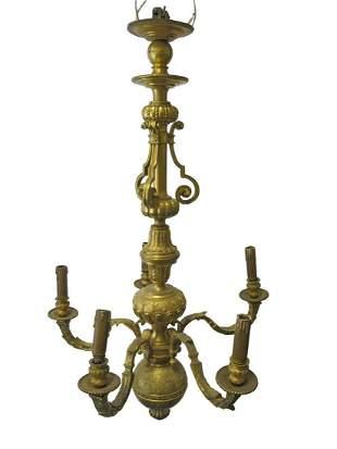 Huge antique French gilt bronze chandelier