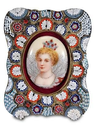 Antique European micromosaic porcelain plaque