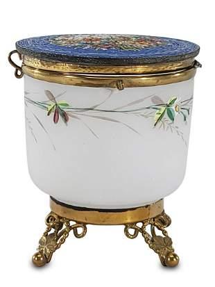Antique European micromosaic, opaline & bronze jar