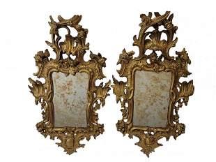 Antique Italian pair of gilt wood mirrors