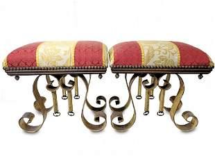 Vintage pair of gilt metal & fabric stools