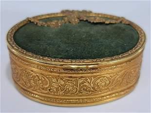Antique French bronze & velvet jewelry box