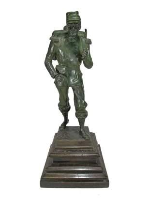 Antique French bronze soldier statue