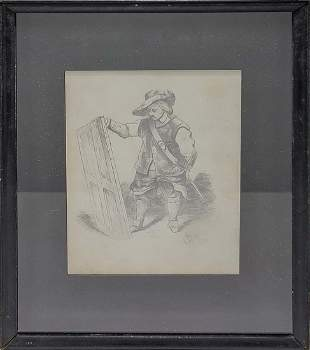 Vintage Musketeer pencil drawing, signed