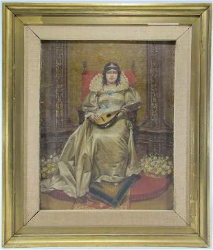 Antique European oil on board painting
