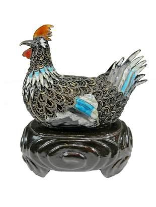 Chinese Export filigree silver & enamel chicken