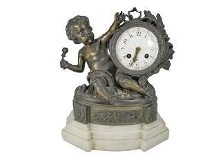 19th C French Marti bronze & marble clock