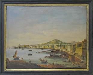 Antique European oil on canvas seascape painting