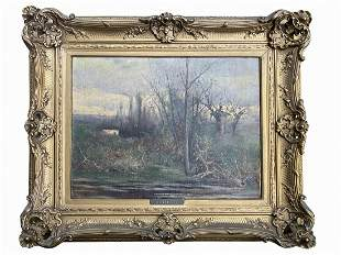 Antique signed POITEVIN oil on canvas painting