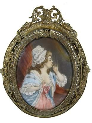 Antique European bronze frame miniature painting
