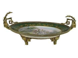 Antique French Sevres bronze & porcelain tray