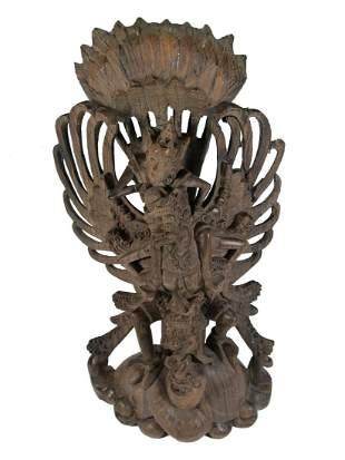 Antique Thai carved wood sculpture