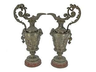 Antique European pair of bronze pitchers