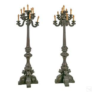 Gothic Revival Style pair wood Castle floor candelabras