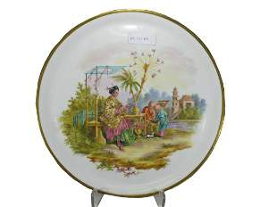 Antique French Chinoiserie porcelain plate