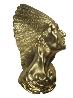 Vintage Indian Chief gilt bronze sculpture made in