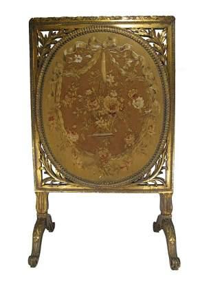 Antique large gilt wood & gobelin screen
