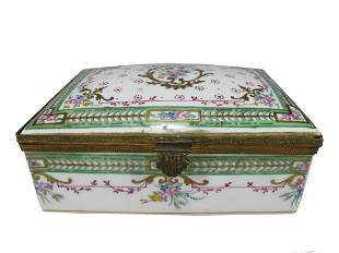 Antique French Sevres porcelain & bronze box