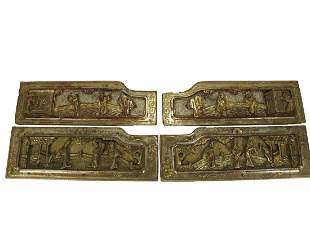 4 Antique Chinese gilt carved wood panels