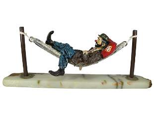 Ron LEE hand painted clown sculpture on an onyx base