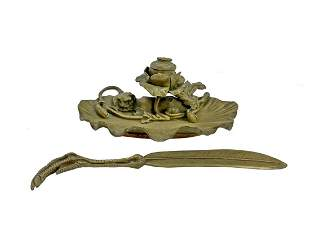 Antique bronze inkwell & opener signed Heingle