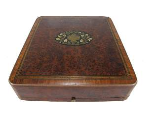 Antique French inlaid wood box