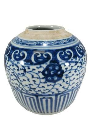 Chinese blue & white porcelain vase