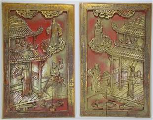 2 Antique Chinese gilt carved wood panels