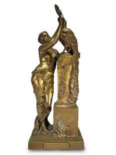 Henri Louis LEVASSEUR (1853-1934) Vanite bronze statue