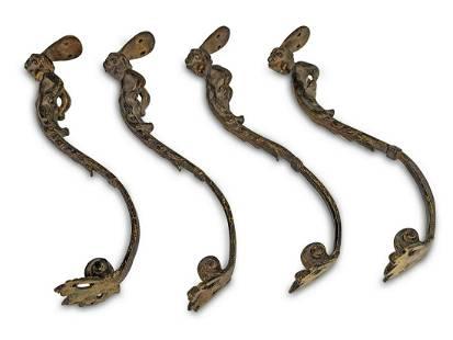 Antique set of 4 bronzes courtain holders