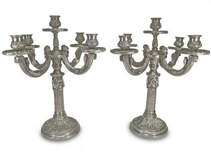 Antique French bronze silverplated pair of candelabras