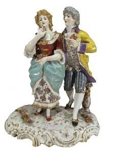 Antique French couple porcelain statue