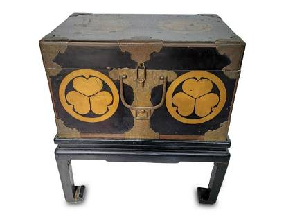 Antique Chinese bronze & wood trunk with base