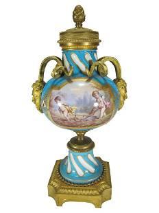 Antique French Sevres gilt bronze & porcelain urn