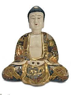 Japanese Satsuma porcelain Buddha statue
