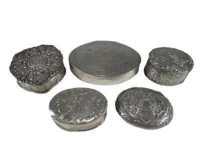 Antique European set of 5 silver boxes