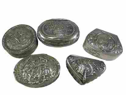 Antique German set of 5 silver boxes