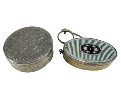 2 European sterling 925 & 800 silver enamel boxes